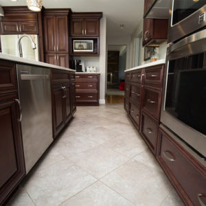 Dark Raised Panel Cabinets