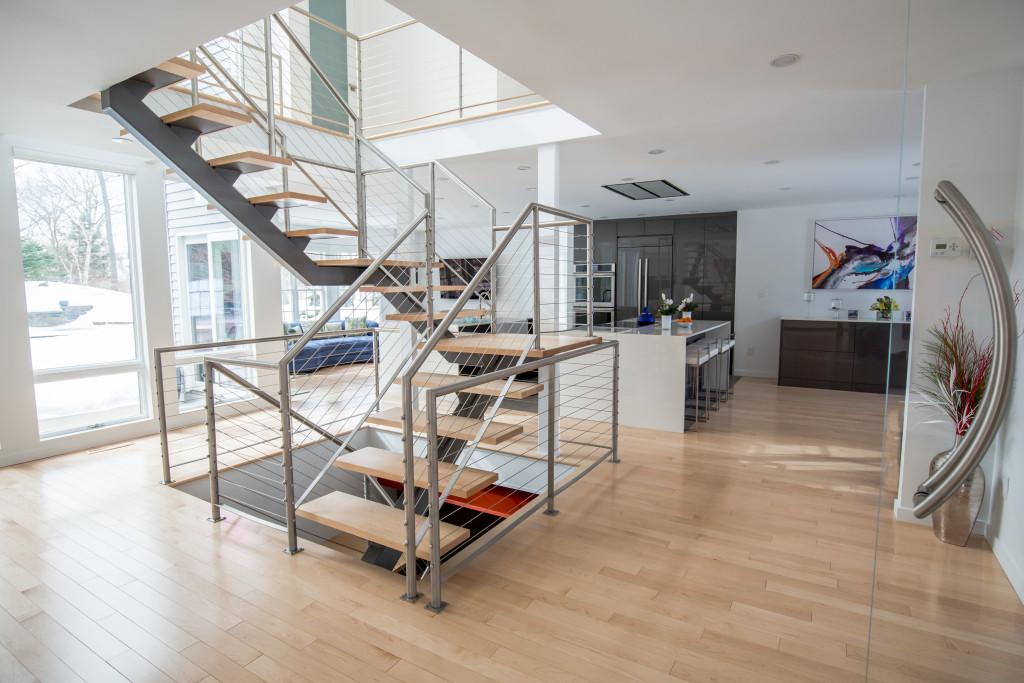 Home Renovation with Staircase Cable for Handrail