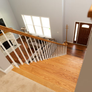 Custom Home Staircase to Living Room