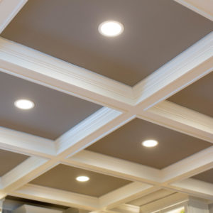 Coffered ceiling with recessed lighting