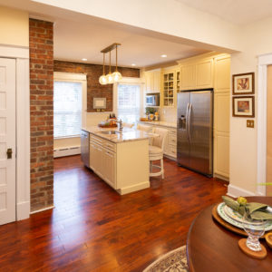 Troy Kitchen Remodeling Island lighting hardwood flooring